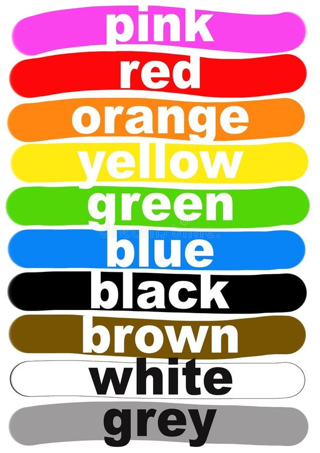 Noms de couleur en anglais illustration de vecteur