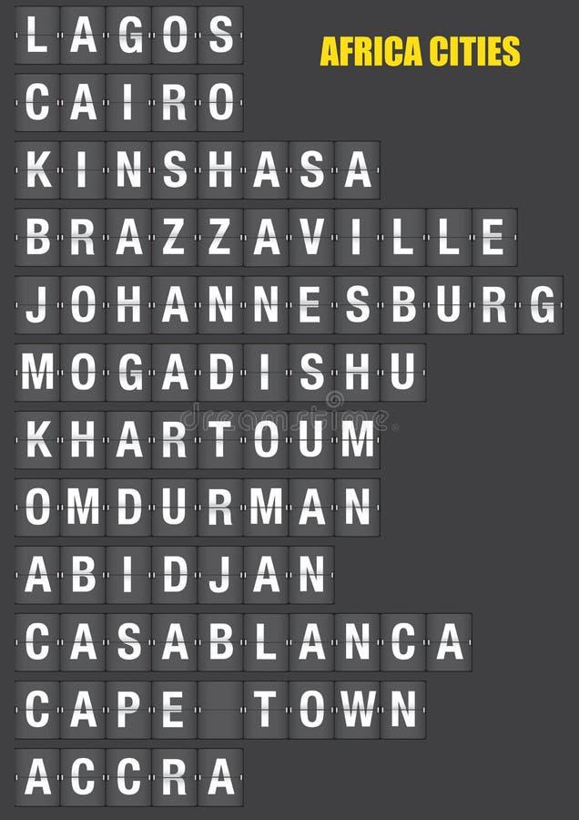 Noms des villes africaines sur le volet jumelé Flip Board Display illustration stock