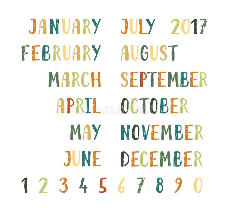 Noms et nombres de mois illustration de vecteur