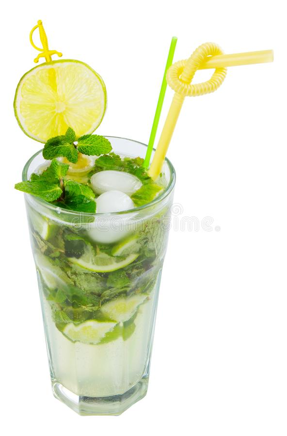 Non alcohol mojito with ice. Mint and lime in a tall glass. isolated on a white background royalty free stock photo