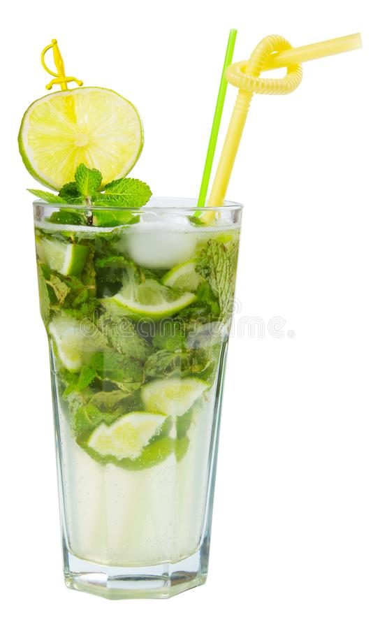 Non alcohol mojito with ice. Mint and lime in a tall glass. side view isolated on a white background stock images