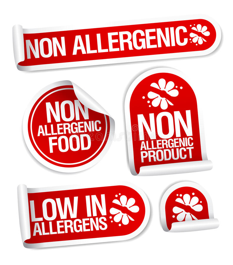 Non allergenic products stickers.