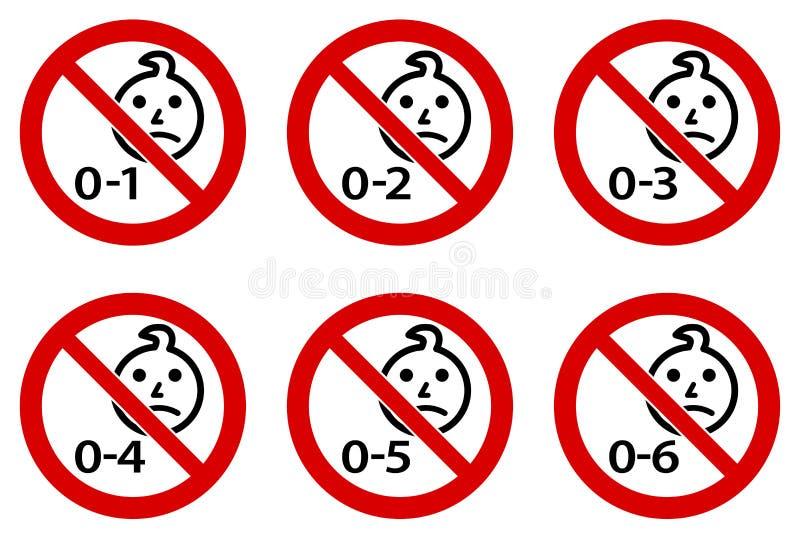 Non approprié au symbole d'enfants Dessin principal d'enfant en bas âge simple en cercle croisé rouge Version pour les âges 1 6 illustration libre de droits