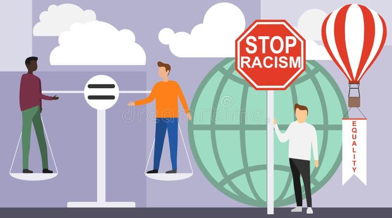 Non au racisme Africain et européen soyez sur l'équilibre des poids Il n'y a aucun genre ou discrimination sexuelle contre illustration stock