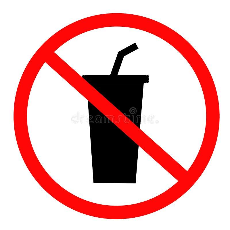 Non beva l'icona su fondo bianco Stile piano nessun'icona bevente per la vostra progettazione del sito Web, logo, app, UI segno d illustrazione vettoriale
