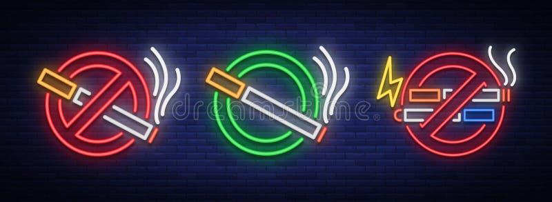 Non c'è nessun fumo, nessun Vape e un posto per il fumo un insieme delle insegne al neon Simbolo luminoso, icona, segnale di peri illustrazione di stock