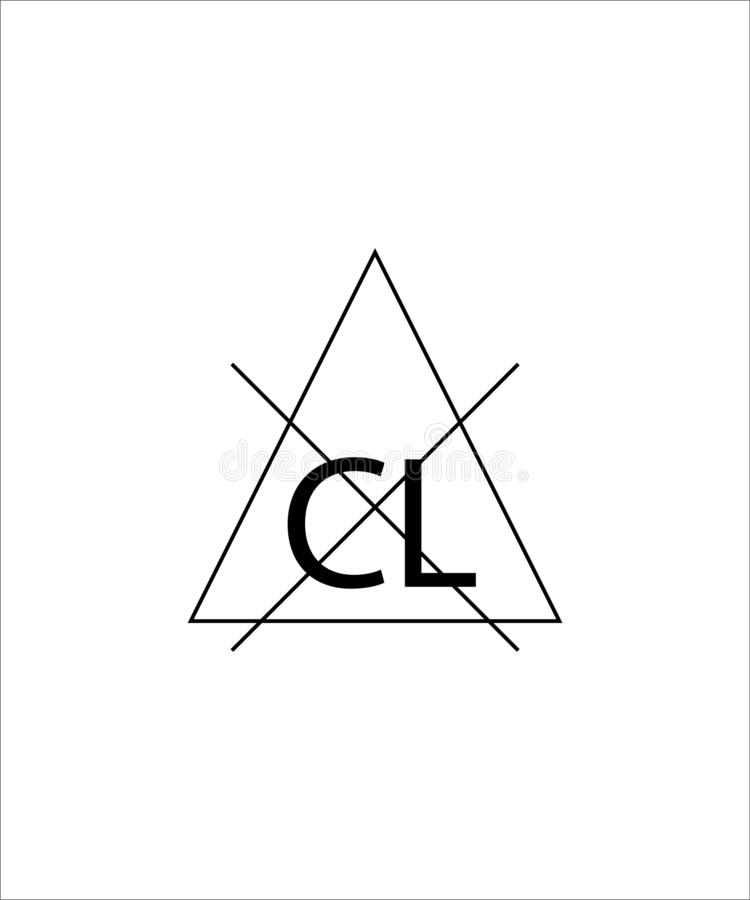 Non-chlorine bleach needed sign. Triangle with a crossed out chlorine sign. Symbol for the care of clothing. Eps ten stock illustration