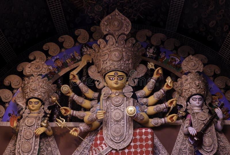 Non conventional Durga idol. Non Conventional Durga Idol of theme Durga Puja at kolkata in the year 2019 stock photo
