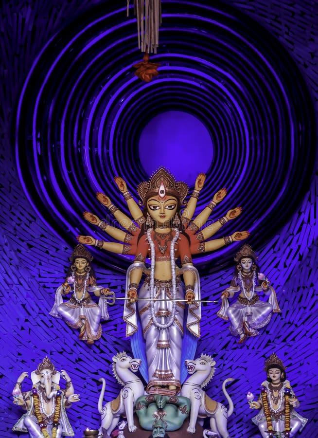 Non conventional Durga idol. Non Conventional Durga Idol of theme Durga Puja at kolkata in the year 2019 royalty free stock image