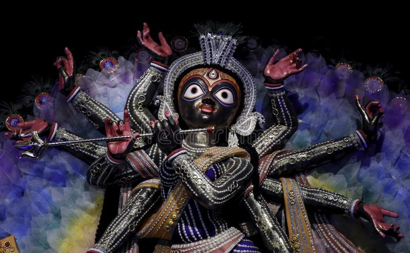 Non conventional Durga idol. Non Conventional Durga Idol of theme Durga Puja at kolkata in the year 2019. durga idol has resemblance to jagganath royalty free stock photos