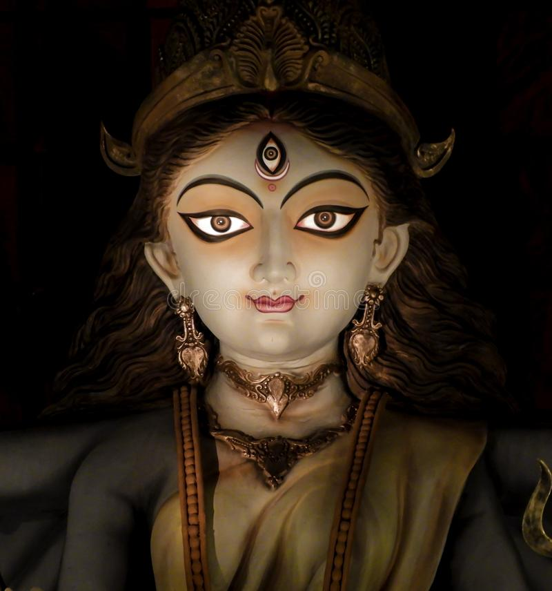 Non conventional Durga idol. Non Conventional Durga Idol of theme Durga Puja at kolkata in the year 2019 stock photos