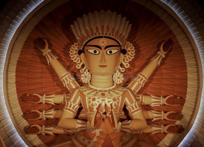 Non conventional Durga idol. Non Conventional Durga Idol of theme Durga Puja at kolkata in the year 2019 stock images