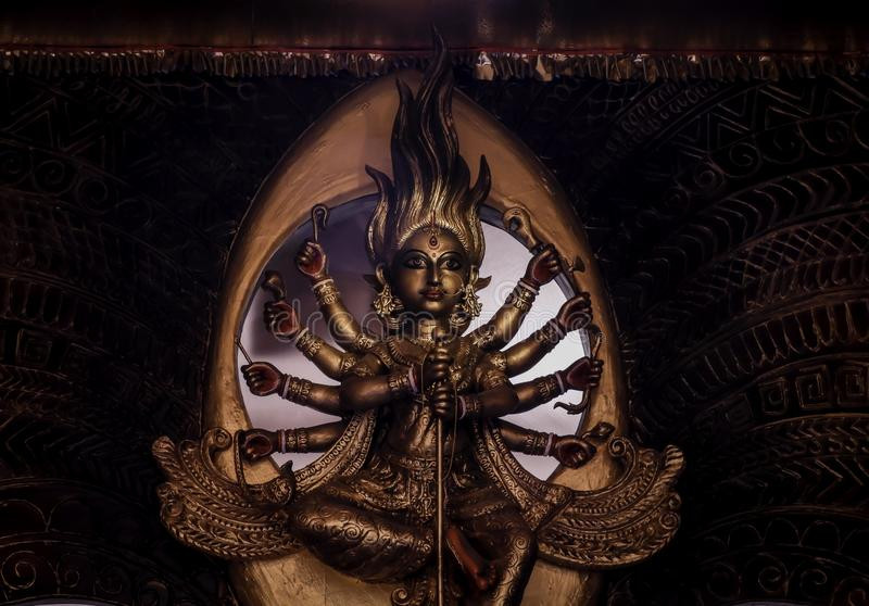 Non conventional Durga idol. Non Conventional Durga Idol of theme Durga Puja at kolkata in the year 2019 stock photography