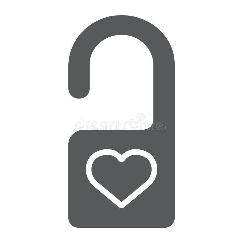 Non disturbi l'icona di glifo, la segretezza e l'etichetta, il segno del gancio di porta, la grafica vettoriale, un modello solid royalty illustrazione gratis