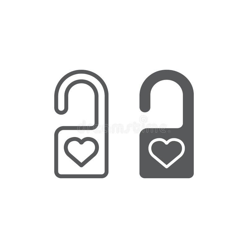 Non disturbi la linea ed icona di glifo, la segretezza ed etichetta, il segno del gancio di porta, la grafica vettoriale, un mode illustrazione vettoriale