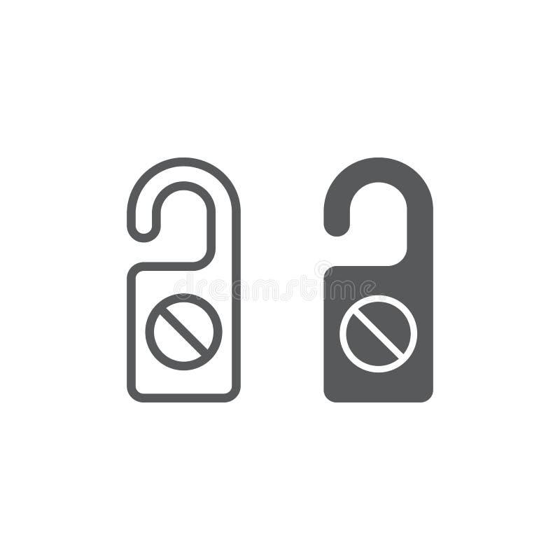 Non disturbi la linea ed icona di glifo, viaggio e turismo, la grafica vettoriale del segno del gancio di porta, un modello linea royalty illustrazione gratis
