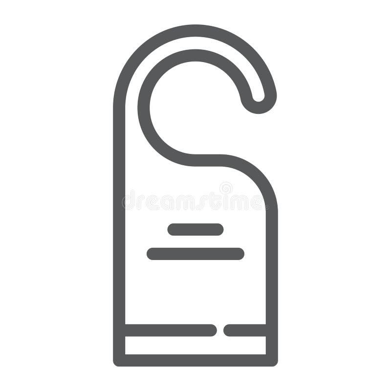 Non disturbi la linea icona, l'etichetta e l'hotel, il segno del gancio di porta, la grafica vettoriale, un modello lineare su un illustrazione vettoriale