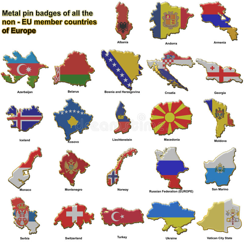 Non EU european countries metal badges. Metal pin badges in the shape of flag maps of all the non member countries of the european union royalty free illustration
