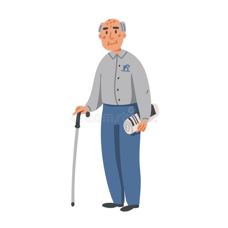 Non faccia quello Carattere dell'uomo anziano con il bastone da passeggio ed il giornale su fondo bianco Casa di cura Piano dell' illustrazione di stock