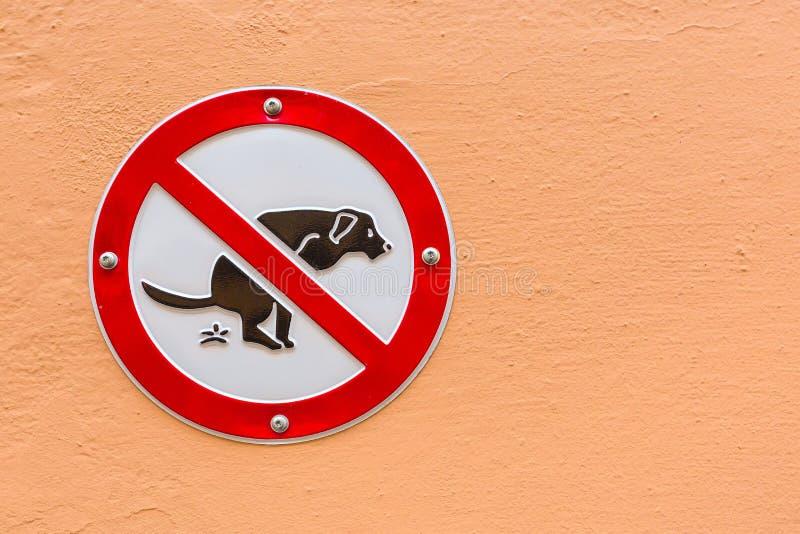 Non firmi poppa del cane sulla parete immagine stock