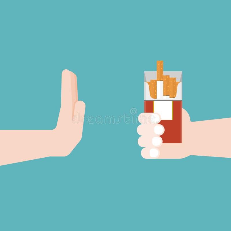 Non fumatori, gesti di mano no alla sigaretta, recupero co di dipendenza illustrazione di stock