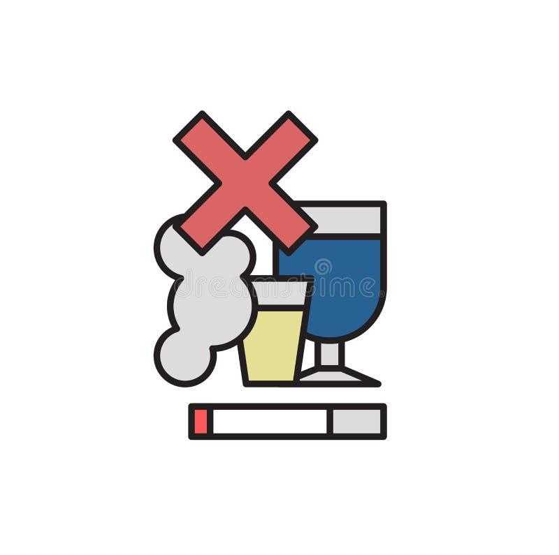 Non fumatori, nessun alcool Illustrazione piana di vettore Isolato su priorità bassa bianca illustrazione di stock