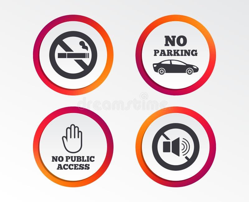 Non-fumeurs, bruit Stationnement privé de territoire illustration stock