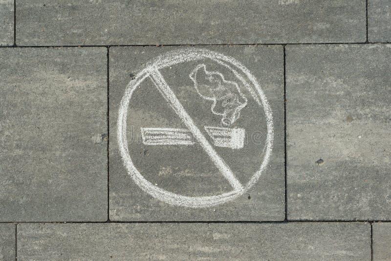 Non-fumeurs de signe peint sur le trottoir gris photos stock