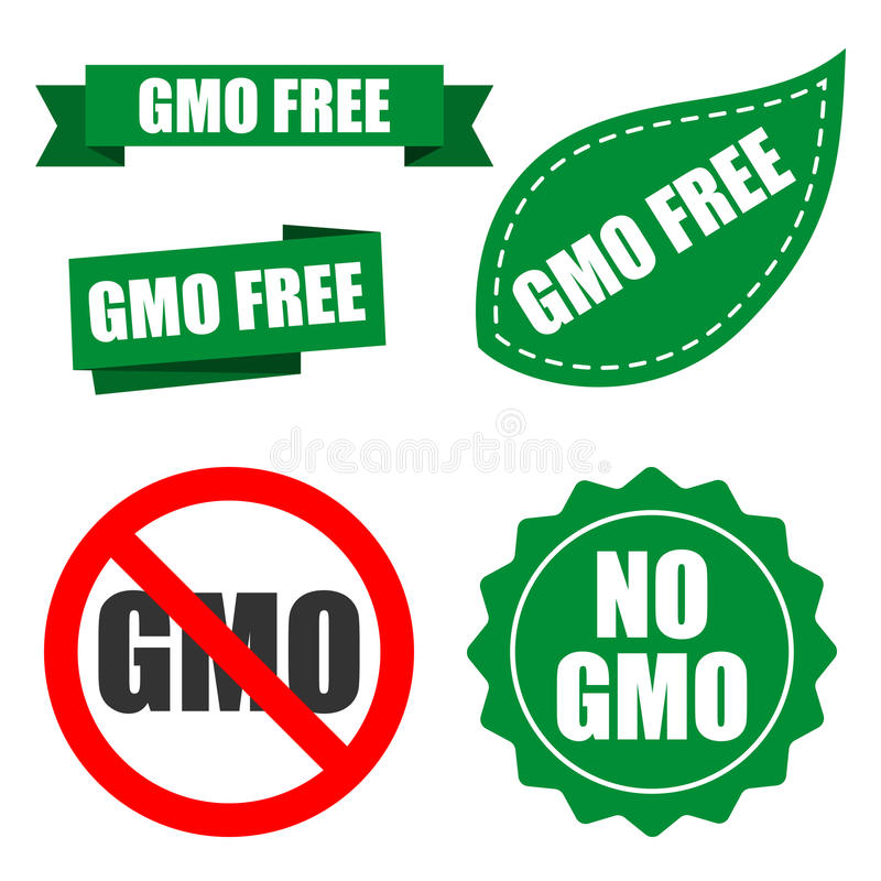 Non genetically modified organism logo for packaging design. GMO. GMO free labels. Emblems confirming the absence of genetically modified components in food. Set stock illustration