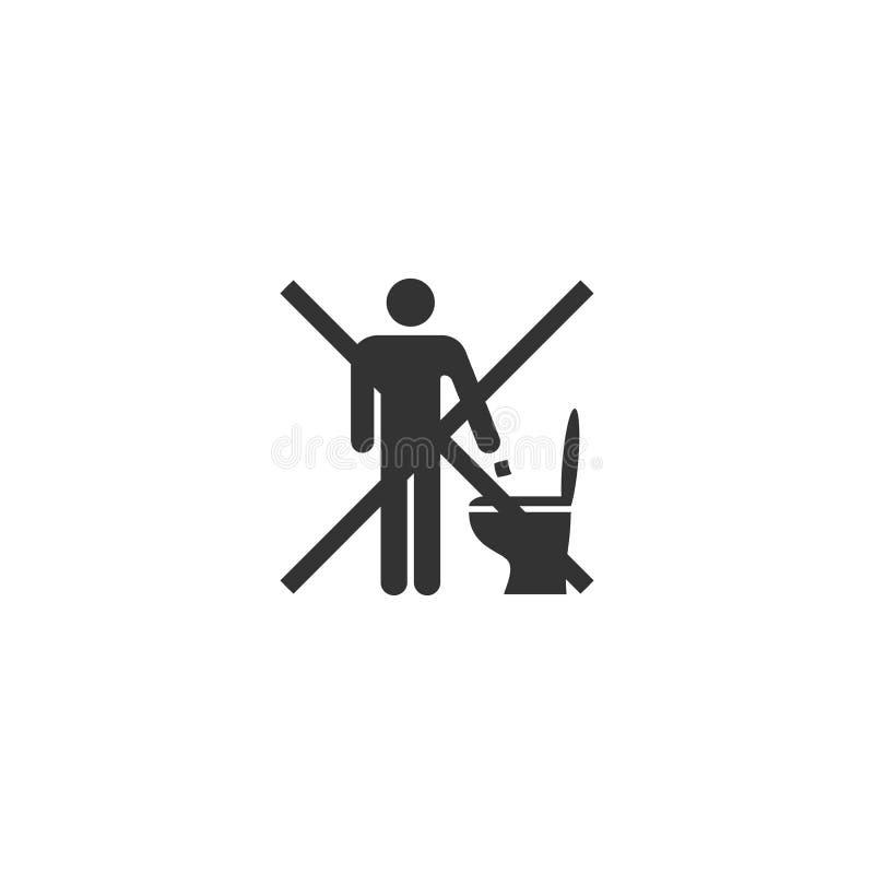 Non getti i rifiuti o la carta nel segno della toilette illustrazione vettoriale