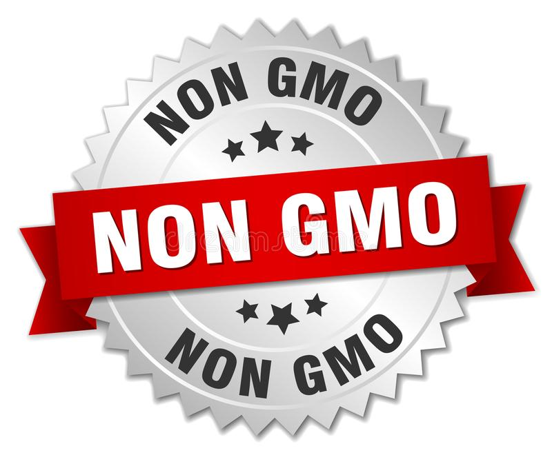 Non gmo. Silver badge with red ribbon vector illustration