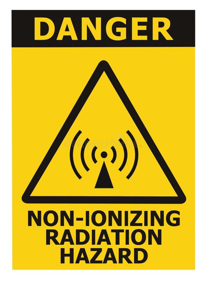 Non-ionizing radiation hazard safety area, danger warning text sign sticker label, large icon signage, isolated black triangle. Over yellow, macro closeup stock photos