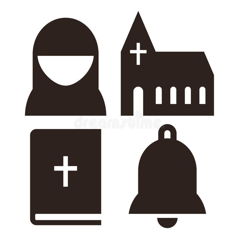 Non, kerk, bijbel en klokpictogrammen royalty-vrije illustratie