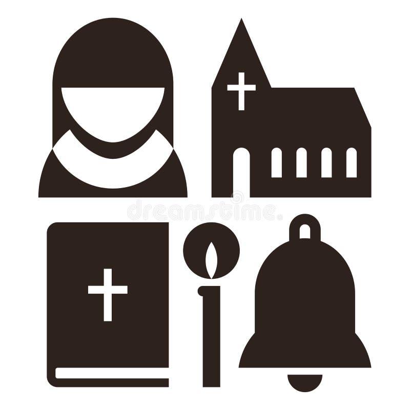 Non, kerk, bijbel, kaars en klokpictogrammen royalty-vrije illustratie