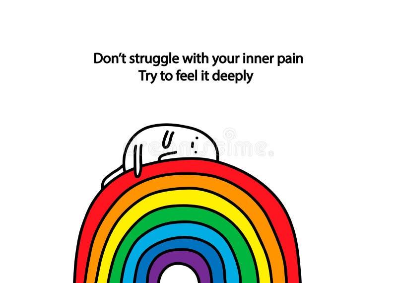 Non lotti con il vostro dolore interno Provi a ritenerlo profondamente Illustrazione disegnata a mano con testo Mettere su triste illustrazione vettoriale