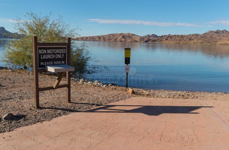 Non-motorized boat launch, Lake Havasu, Arizona royalty free stock images