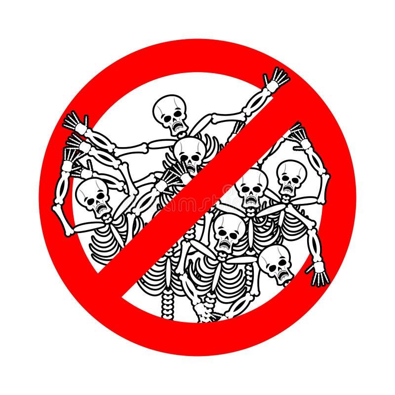 Non non sin Fermi i peccatori Segno rosso dei pericoli morto Gli scheletri sono p illustrazione di stock