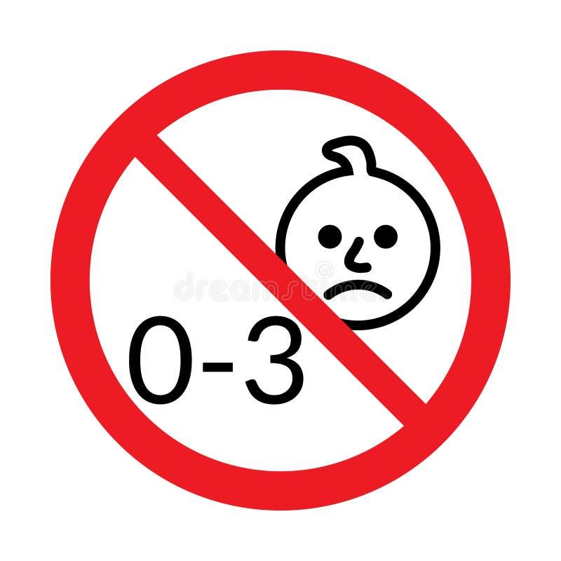 Non per i bambini al di sotto di 3 anni l'icona illustrazione vettoriale