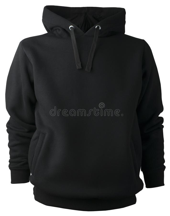 Non-print isolated black cotton polyester sweatshirt blouse hoodie without zipper stock photography