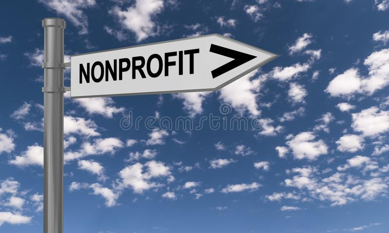 Non profit sign. A close up of a road sign pointing the way to 'non profit' against the blue skies royalty free illustration