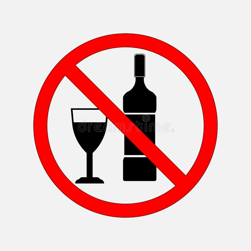 Non proibire i segni di alimento e di alcool, nessun alcool, nessun alcoh royalty illustrazione gratis