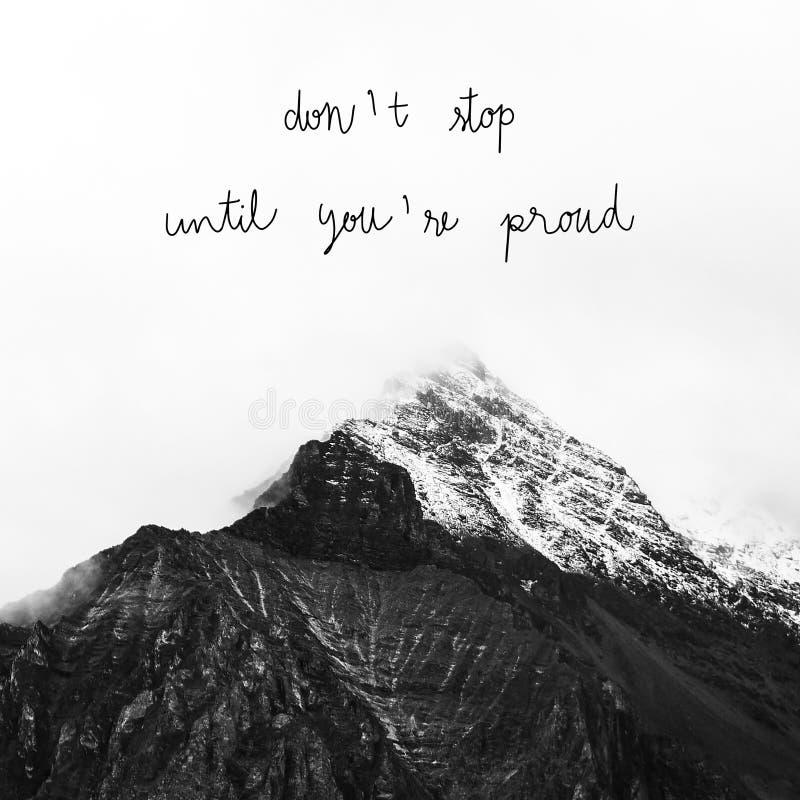 Non si fermi più finché voi con riferimento a fiero sul Mountain View fotografia stock
