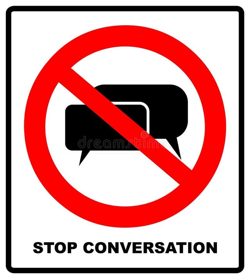Non, signe d'arrêt, interdit Parler principal Silhouette d'une tête avec les ondes sonores illustration stock