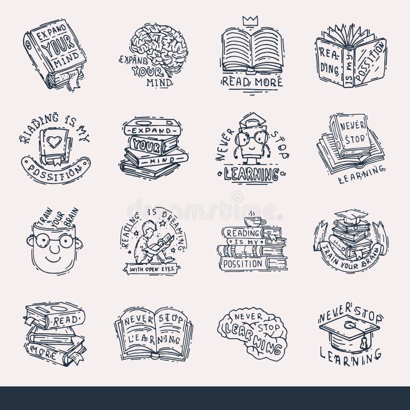 Non smetta mai di imparare l'amore di concetto dell'immaginazione del distintivo di logo di frasi di motivazione di istruzione ch royalty illustrazione gratis