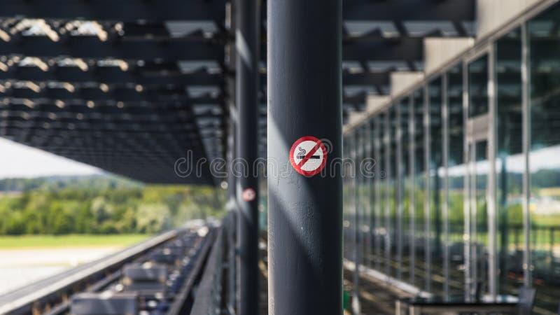 Non Smoking Area at Zurich International Airport. Non smoking sign outside Zurich Airport lounge stock image