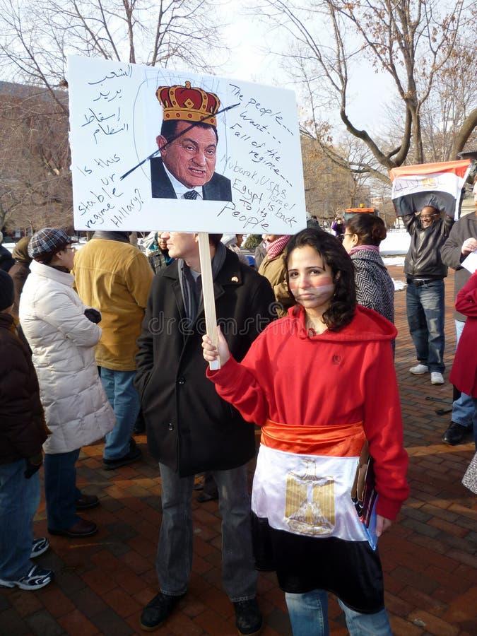 Non soddisfatto del Presidente Mubarak immagini stock libere da diritti