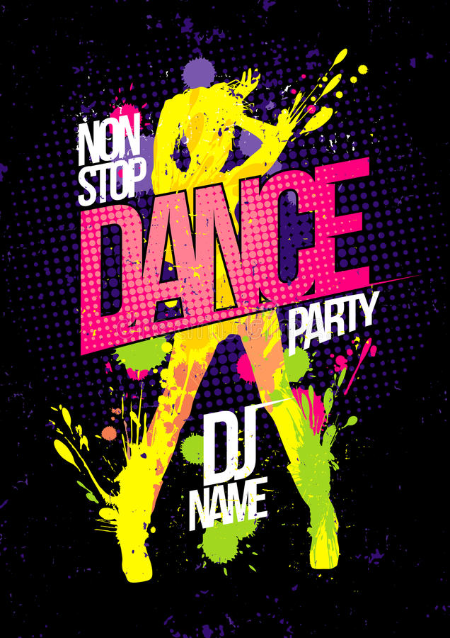 Non stop dance party poster with dancing woman silhouette made from blots royalty free illustration