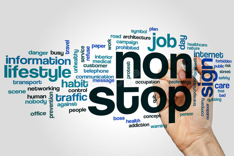 Non stop word cloud. Concept on grey background stock image