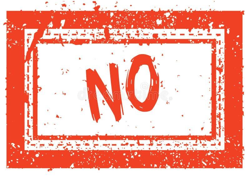 NON sur le tampon en caoutchouc carré orange de cadre avec la texture grunge illustration stock