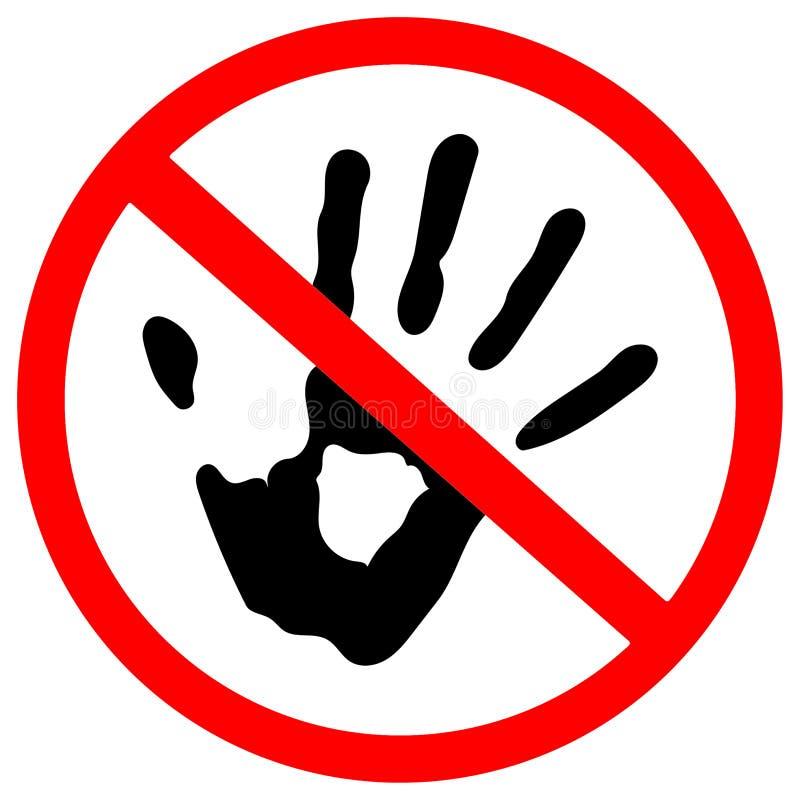 Non tocchi il segnale stradale proibito cerchio su fondo bianco royalty illustrazione gratis